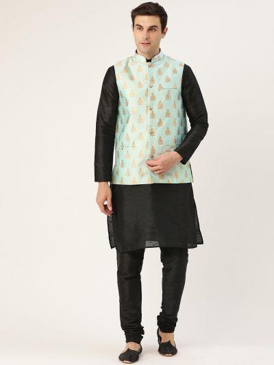 Sojanya (Since 1958) Men's Silk Blend Black Kurta Pyjama & Sea Green Nehrujacket Combo
