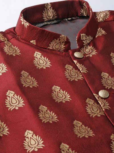Sojanya (Since 1958) Men's Silk Blend Black Kurta Pyjama & Maroon Nehrujacket Combo