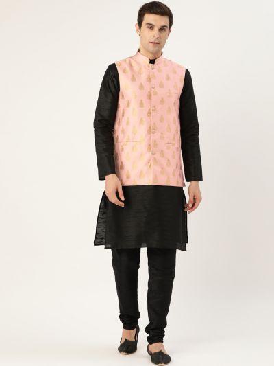 Sojanya (Since 1958) Men's Silk Blend Black Kurta Pyjama & Pink Nehrujacket Combo