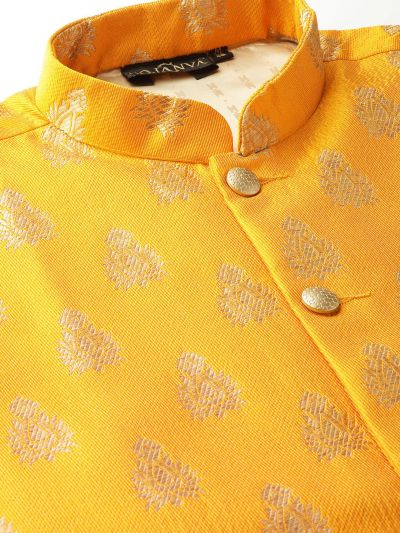 Sojanya (Since 1958) Men's Silk Blend Black Kurta Pyjama & Mustard Nehrujacket Combo