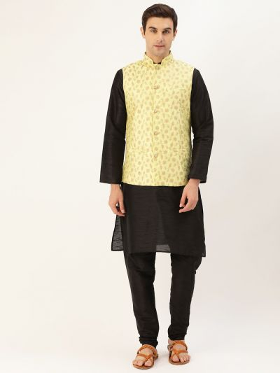Sojanya (Since 1958) Men's Silk Blend Black Kurta Pyjama & LimeGreen Nehrujacket Combo