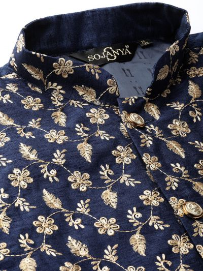 Sojanya (Since 1958) Men's Silk Blend Black Kurta Pyjama & NavyBlue Nehrujacket Combo