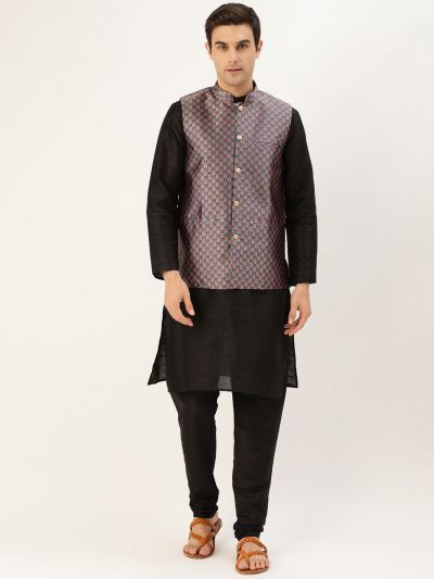 Sojanya (Since 1958) Men's Silk Blend Black Kurta Pyjama & Charcoal Grey Nehrujacket Combo