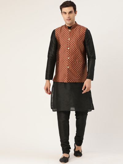 Sojanya (Since 1958) Men's Silk Blend Black Kurta Pyjama & Maroon Nehrujacket Combo