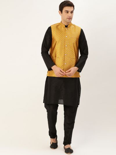 Sojanya (Since 1958) Men's Silk Blend Black Kurta Pyjama & Mustard Nehrujacket Combo