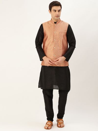 Sojanya (Since 1958) Men's Silk Blend Black Kurta Pyjama & Peach Nehrujacket Combo