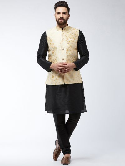 Sojanya (Since 1958) Men's Silk Blend Black Kurta Pyjama & Beige Nehrujacket Combo