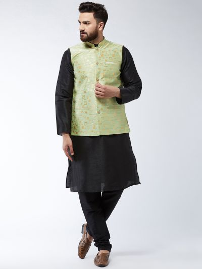 Sojanya (Since 1958) Men's Silk Blend Black Kurta Pyjama & Green Nehrujacket Combo