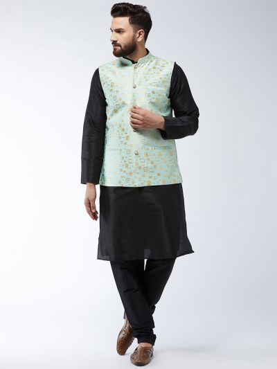 Sojanya (Since 1958) Men's Silk Blend Black Kurta Pyjama & SeaGreen Nehrujacket Combo