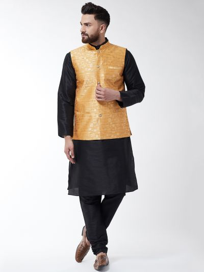 Sojanya (Since 1958) Men's Silk Blend Black Kurta Pyjama & Mustard Nehrujacket