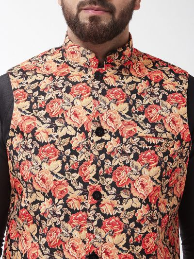Sojanya (Since 1958), Men's Silk Blend Black Kurta With Pyjama & Multi Printed Nehrujacket Combo