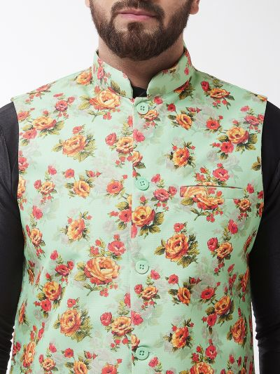 Sojanya (Since 1958), Men's Silk Blend Black Kurta With Pyjama & Green Printed Nehrujacket Combo
