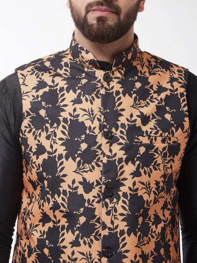 Sojanya (Since 1958), Men's Silk Blend Black Kurta With Pyjama & Peach Printed Nehrujacket Combo