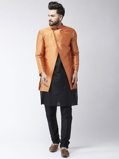 Sojanya (Since 1958), Men's Silk Blend Black Kurta Churidaar Pyjama & Peach Sherwani Jacket Set