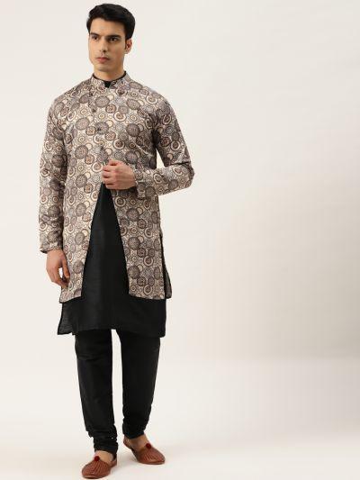Sojanya (Since 1958), Men's Silk Blend Black Kurta Pyjama & Beige Sherwani Set