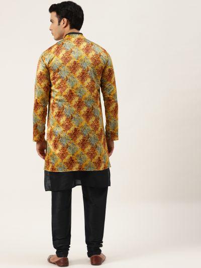 Sojanya (Since 1958), Men's Silk Blend Black Kurta Pyjama & Yellow Sherwani Set