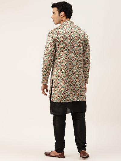Sojanya (Since 1958), Men's Silk Blend Black Kurta Pyjama & Fawn Sherwani Set