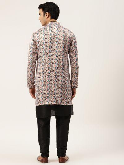 Sojanya (Since 1958), Men's Silk Blend Black Kurta Pyjama & White Sherwani Set