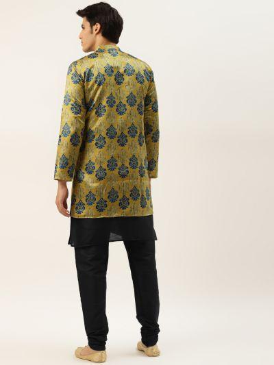 Sojanya (Since 1958), Men's Silk Blend Black Kurta Pyjama & Gold Sherwani Set