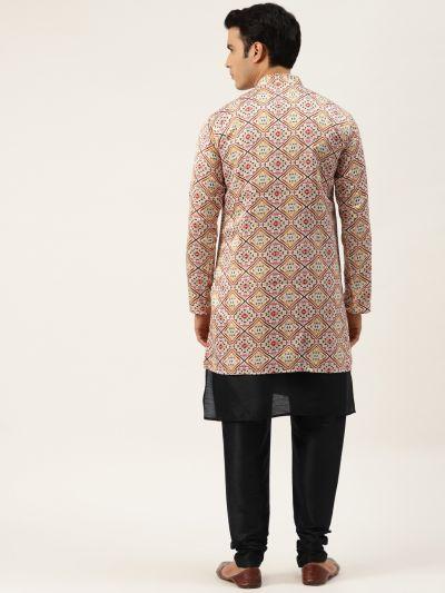 Sojanya (Since 1958), Men's Silk Blend Black Kurta Pyjama & OffWhite Sherwani Set