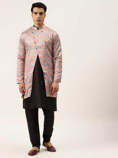 Sojanya (Since 1958), Men's Silk Blend Black Kurta Pyjama & Rust Sherwani Set