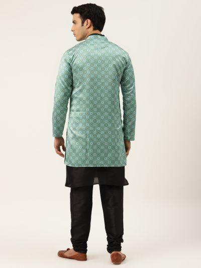Sojanya (Since 1958), Men's Silk Blend Black Kurta Pyjama & Green Sherwani Set