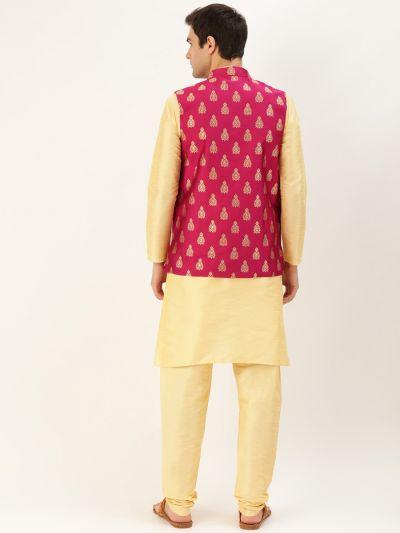 Sojanya (Since 1958) Men's Silk Blend Gold Kurta Pyjama & Magenta Nehrujacket Combo