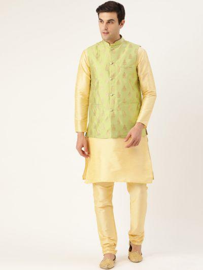 Sojanya (Since 1958) Men's Silk Blend Gold Kurta Pyjama & Green Nehrujacket Combo