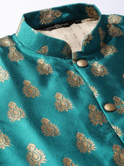 Sojanya (Since 1958) Men's Silk Blend Gold Kurta Pyjama & Teal Blue Nehrujacket Combo