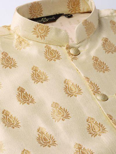 Sojanya (Since 1958) Men's Silk Blend Gold Kurta Pyjama & Beige Nehrujacket Combo