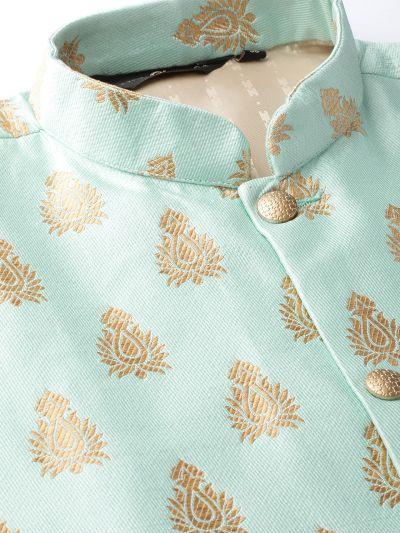 Sojanya (Since 1958) Men's Silk Blend Gold Kurta Pyjama & Sea Green Nehrujacket Combo