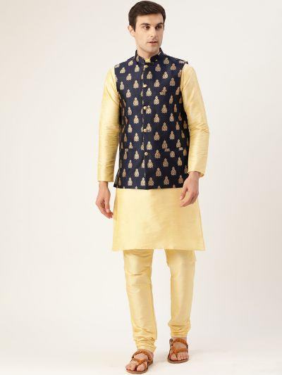 Sojanya (Since 1958) Men's Silk Blend Gold Kurta Pyjama & Navy Blue Nehrujacket Combo