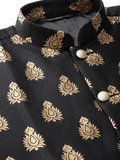 Sojanya (Since 1958) Men's Silk Blend Gold Kurta Pyjama & Black Nehrujacket Combo