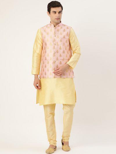 Sojanya (Since 1958) Men's Silk Blend Gold Kurta Pyjama & Pink Nehrujacket Combo