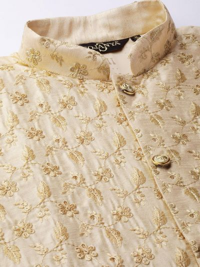 Sojanya (Since 1958) Men's Silk Blend Gold Kurta Pyjama & Beige Nehrujacket Combo