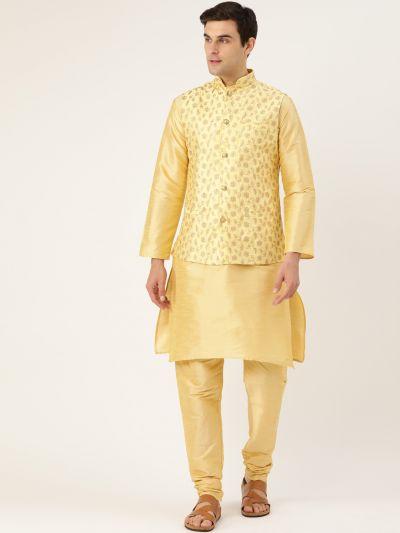 Sojanya (Since 1958) Men's Silk Blend Gold Kurta Pyjama & LemonYellow Nehrujacket Combo
