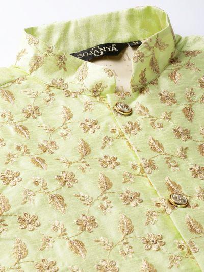 Sojanya (Since 1958) Men's Silk Blend Gold Kurta Pyjama & LimeGreen Nehrujacket Combo