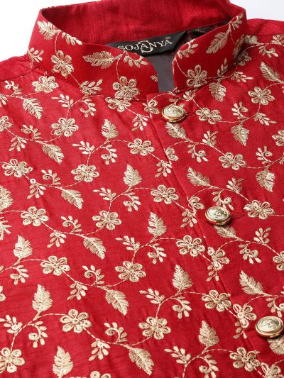 Sojanya (Since 1958) Men's Silk Blend Gold Kurta Pyjama & Red Nehrujacket Combo