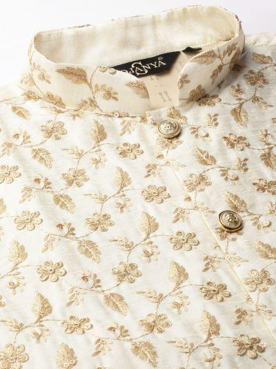 Sojanya (Since 1958) Men's Silk Blend Gold Kurta Pyjama & Cream Nehrujacket Combo