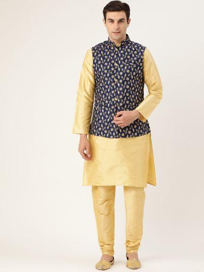 Sojanya (Since 1958) Men's Silk Blend Gold Kurta Pyjama & NavyBlue Nehrujacket Combo