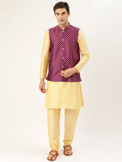 Sojanya (Since 1958) Men's Silk Blend Gold Kurta Pyjama & Wine Nehrujacket Combo