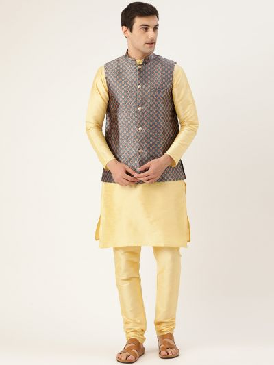 Sojanya (Since 1958) Men's Silk Blend Gold Kurta Pyjama & Charcoal Grey Nehrujacket Combo