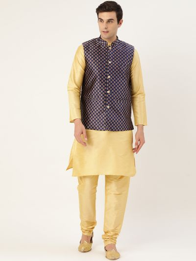 Sojanya (Since 1958) Men's Silk Blend Gold Kurta Pyjama & Navy Blue Nehrujacket Combo