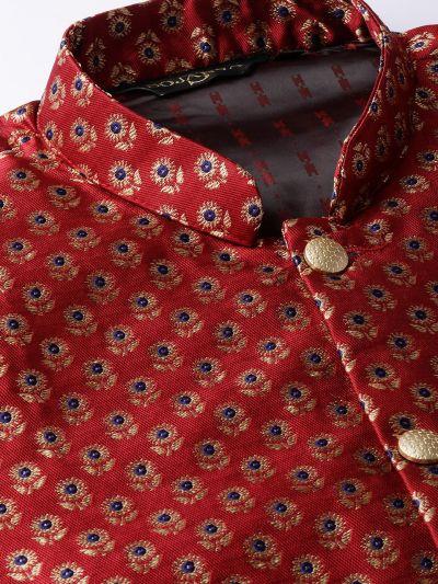 Sojanya (Since 1958) Men's Silk Blend Gold Kurta Pyjama & Maroon Nehrujacket Combo