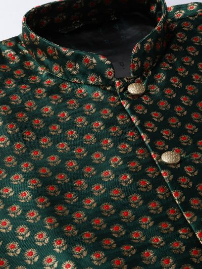 Sojanya (Since 1958) Men's Silk Blend Gold Kurta Pyjama & Dark Green Nehrujacket Combo