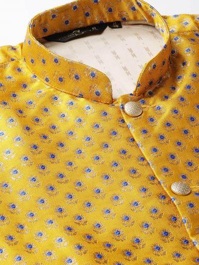 Sojanya (Since 1958) Men's Silk Blend Gold Kurta Pyjama & Mustard Nehrujacket Combo