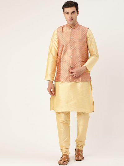 Sojanya (Since 1958) Men's Silk Blend Gold Kurta Pyjama & Peach Nehrujacket Combo