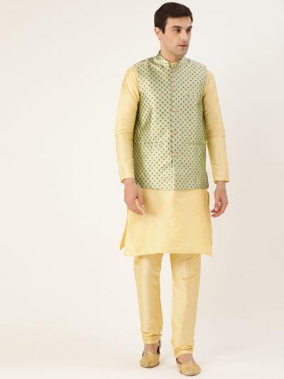 Sojanya (Since 1958) Men's Silk Blend Gold Kurta Pyjama & Pista Green Nehrujacket Combo