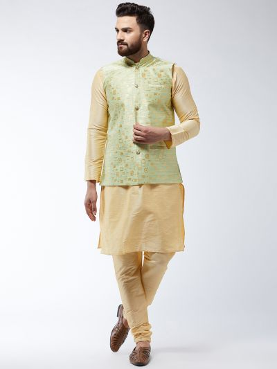 Sojanya (Since 1958) Men's Silk Blend Gold Kurta Pyjama & Green Nehrujacket Combo