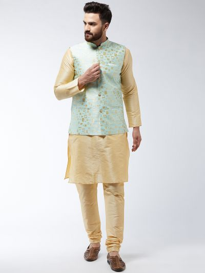 Sojanya (Since 1958) Men's Silk Blend Gold Kurta Pyjama & SeaGreen Nehrujacket Combo